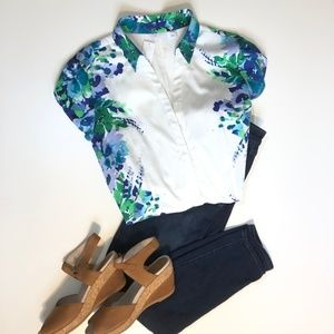 Blue Floral Blouse Button Down by New York & Co